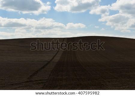 agriculture landscape cloud nature - stock photo