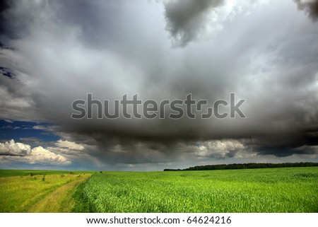 agriculture landscape with dramatic evening sky