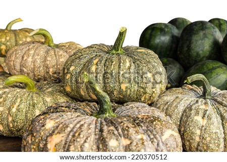 Agriculture, which has plenty of pumpkins, watermelon is back for sale. - stock photo