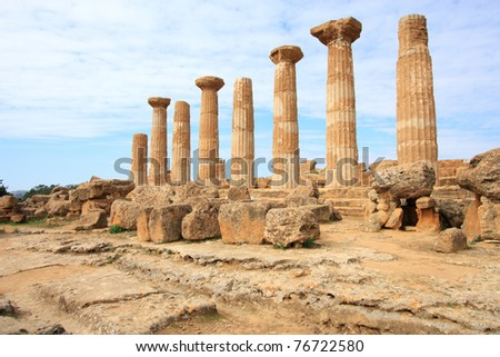 Agrigento, Sicily island in Italy. Famous Valle dei Templi, UNESCO World Heritage Site. Greek temple - remains of the Temple of Heracles.