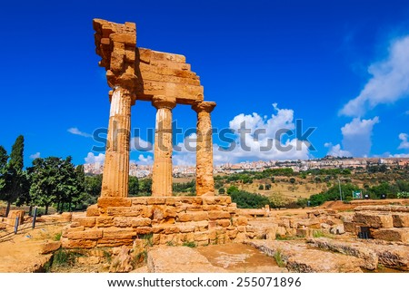 Agrigento, Sicily. Temple of Castor and Pollux one of the greeks temple of Italy (Magna Graecia). The ruins are the symbol of Agrigento city. - stock photo