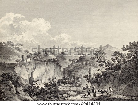 Agrigento surroundings, near the Valley of the Temples, Sicily. By Chatelet and l'Epine, published on Voyage Pittoresque de Naples et de Sicilie,  J. C. R. de Saint Non, Impr. de Clousier, Paris, 1786 - stock photo