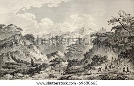 Agrigento surroundings, near the Valley of the Temples, Sicily. By Chatelet and Masquelier, publ. on Voyage Pittoresque de Naples et de Sicilie,  J. C. R. de Saint Non, Impr. de Clousier, Paris, 1786 - stock photo
