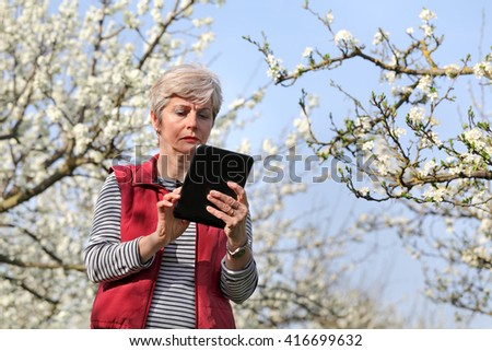 Agronomist or farmer examine blooming plum trees in orchard, holding tablet - stock photo