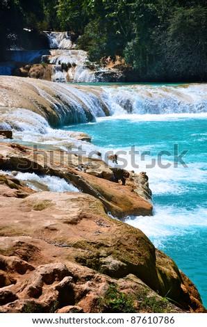 Agua Azul waterfalls in Mexico - stock photo