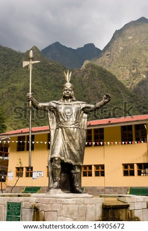 Aguas Calientes is the colloquial name for Machu Picchu pueblo, a town on the Urubamba River in Peru. - stock photo