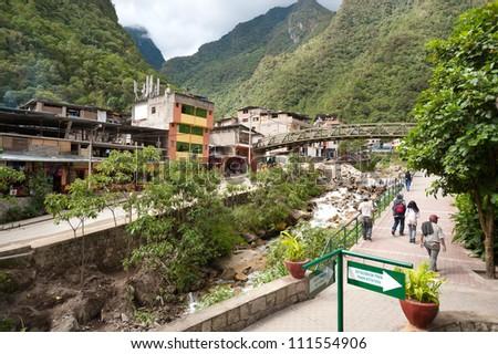 AGUAS CALIENTES, PERU - MAY 3: Scenic of Aguas Calientes gateway to Manchu Picchu, Peru, on May 3, 2012 - stock photo