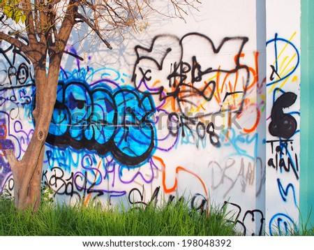 AGUASCALIENTES, MEXICO - OCTOBER 13, 2013: Artistic graffiti or street art by unknown artists near the Victoria stadium in the capital of Aguascalientes State.