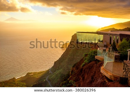 Agulo, La Gomera island, Spain - January 06, 2016: Mirador de Abrante viewpoint bilding with glass observation balcony above Agulo village on nothern part of La Gomera island in Spain