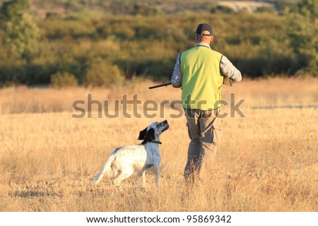 Agustin Romain (pointer and english setter trainer) trains a pointer with quails for hunting - stock photo