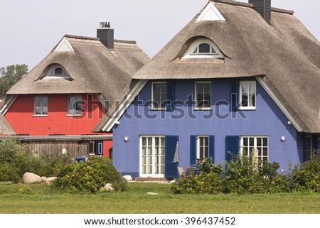 AHRENSHOOP,GERMANY,June, 16,2015:Thatched holiday home in the seaside resort Ahrenshoop on the Darss peninsula, Mecklenburg-Western Pomerania, Germany, Europe