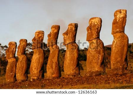 Ahu Akivi at sunset, Easter Island - stock photo