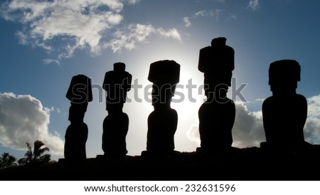 Ahu Nau Nau Statues. A row of moai statues on Isla de Pascua in the South Pacific ocean - stock photo