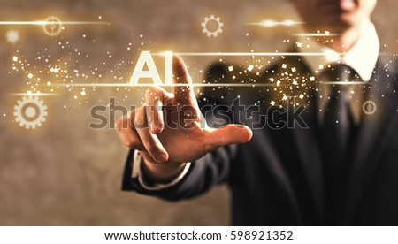 AI text with businessman on dark vintage background