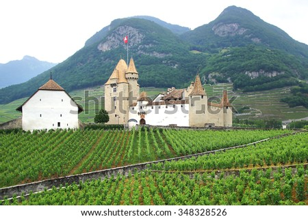AIGLE, SWITZERLAND - JUNE 16, 2015: Aigle Castle. Today the castle is home to Vine and wine museum. It is a Swiss heritage site of national significance. - stock photo