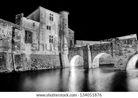 Aigues-Mortes is a commune in the Gard department in southern France. - stock photo