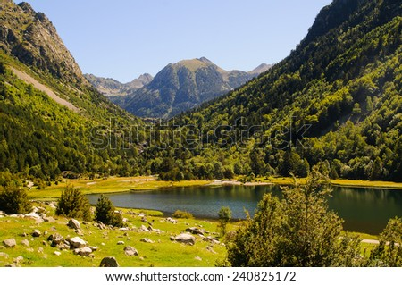 Aiguestortes is a national park in catalonia pyrenees spain - stock photo