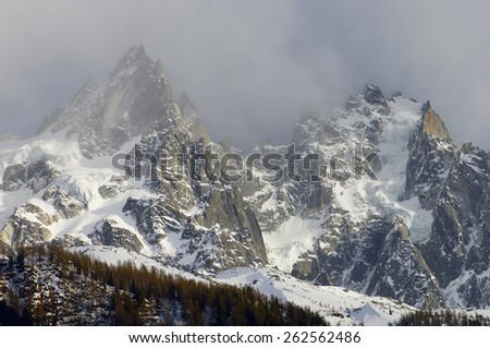Aiguille du Blaitiere, to the left, 3522 m, and Aiguille du Plan, 3673 m, Aiguilles du Chamonix, Mont Blanc Massif, Alps, Chamonix, France - stock photo