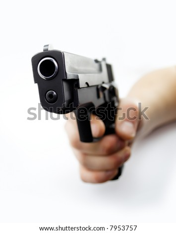 aim a pistol isolated on white - stock photo