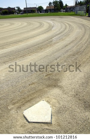 Aiming for first base: sport background of homeplate and first base in line in the distance at the local outdoor stadium. - stock photo