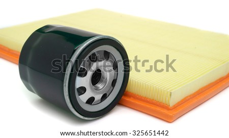 air and oil filter car on a white background close-up - stock photo