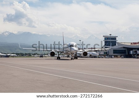 Air Astana Boeing 757 -200 P4-EAS on the ground, Kazakhstan, Almaty International Airport, May, 28, 2011.