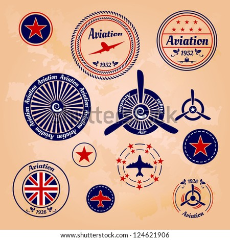 air badges and labels - stock photo
