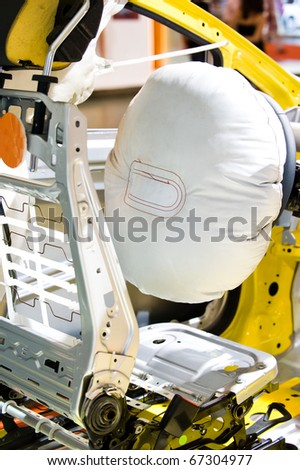 Air bag deployed after car wreck aftermath. - stock photo