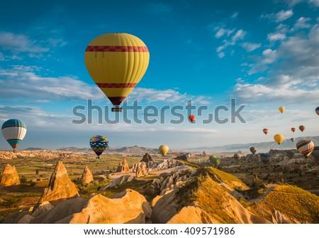 air balloon in Cappadocia, Turkey - stock photo