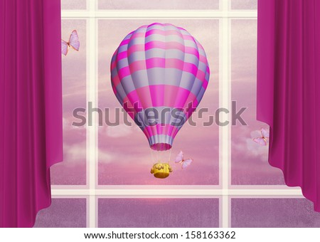 Air balloon in the sky outside the window. Illustration - stock photo