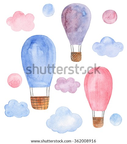 Air balloon isolated . Watercolor travel  - stock photo