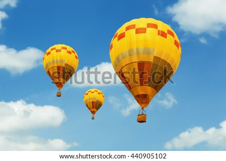 air balloon on blue sky with cloud closeup