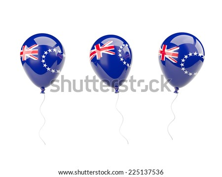 Air balloons with flag of cook islands isolated on white