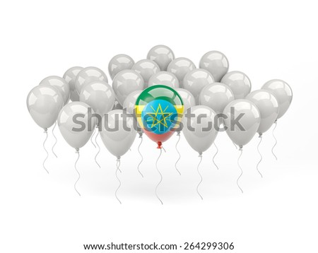Air balloons with flag of ethiopia isolated on white - stock photo