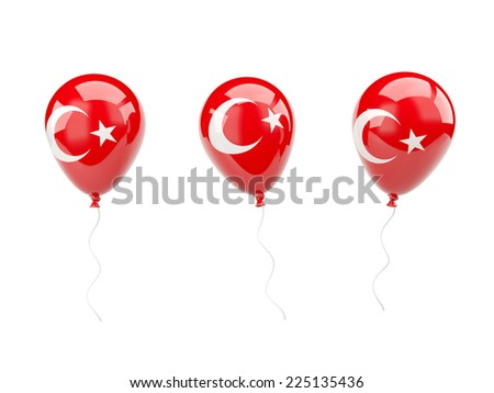 Air balloons with flag of turkey isolated on white - stock photo