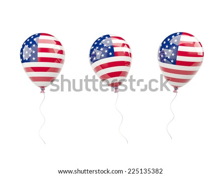 Air balloons with flag of united states of america isolated on white - stock photo