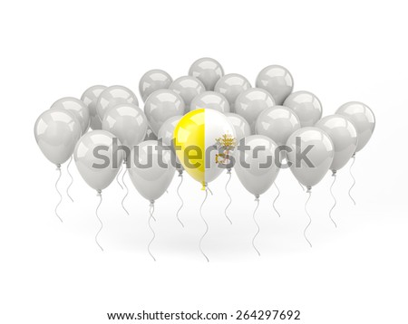 Air balloons with flag of vatican city isolated on white