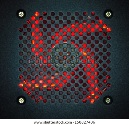 air blower port in cpu case with red led light use for multipurpose background - stock photo
