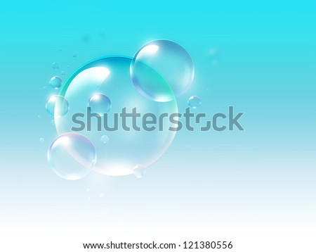 air bubbles on a light blue background