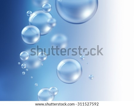 air bubbles under water - nature background - stock photo