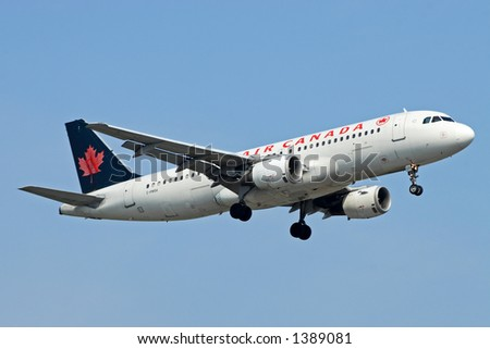 Air Canada aircraft coming in for a landing. - stock photo