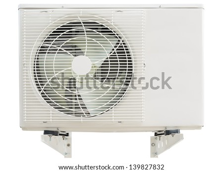 Air condition compressor with hanging arms isolated on white - stock photo