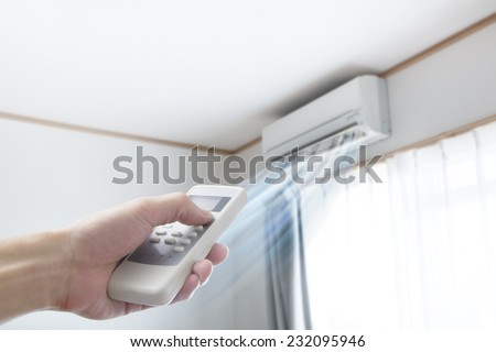 Air conditioner blowing cold air - stock photo