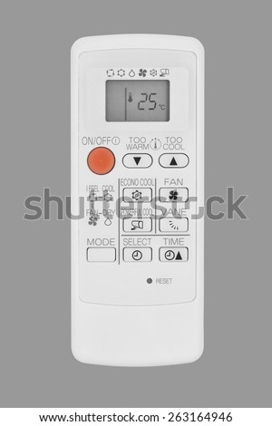 air conditioner remote control isolated on gray - stock photo