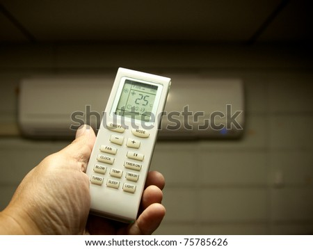 air conditioner remote control set as saving power temperature