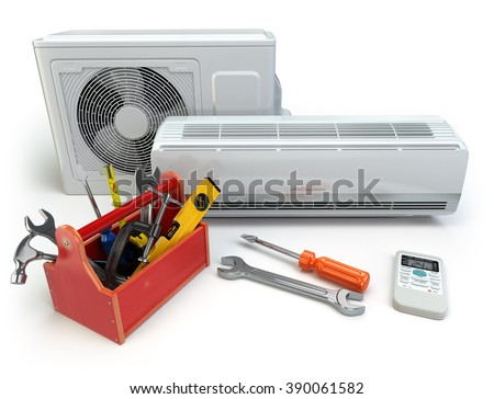 Air conditioner with toolbox and tools. Repair of air-conditioner concept. 3d - stock photo