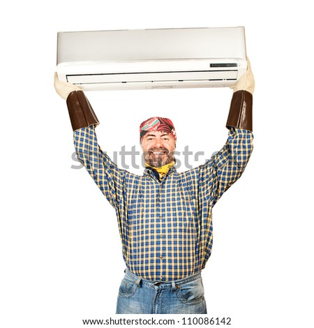 Air conditioning master holding in his arms new air conditioner and smiling. Isolated on a white - stock photo