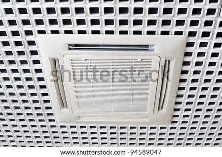 Air conditioning system installed on the ceiling - stock photo