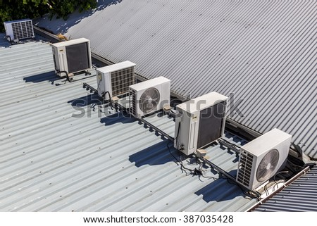 Air conditioning system on top roof stock photo royalty for Different types of roofing systems