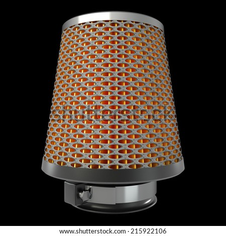 Air cone filter. isolated on black background. automobile accessory. 3d. - stock photo